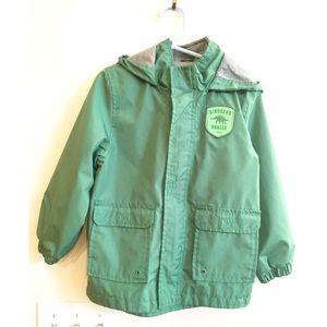 Carters Boys Dinosaur Green Hooded Raincoat Sz 4